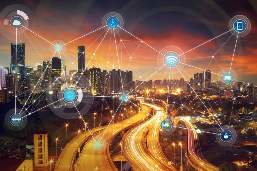 智能城市与无线通信网络抽象图像可视化物联网,物联网,传感器