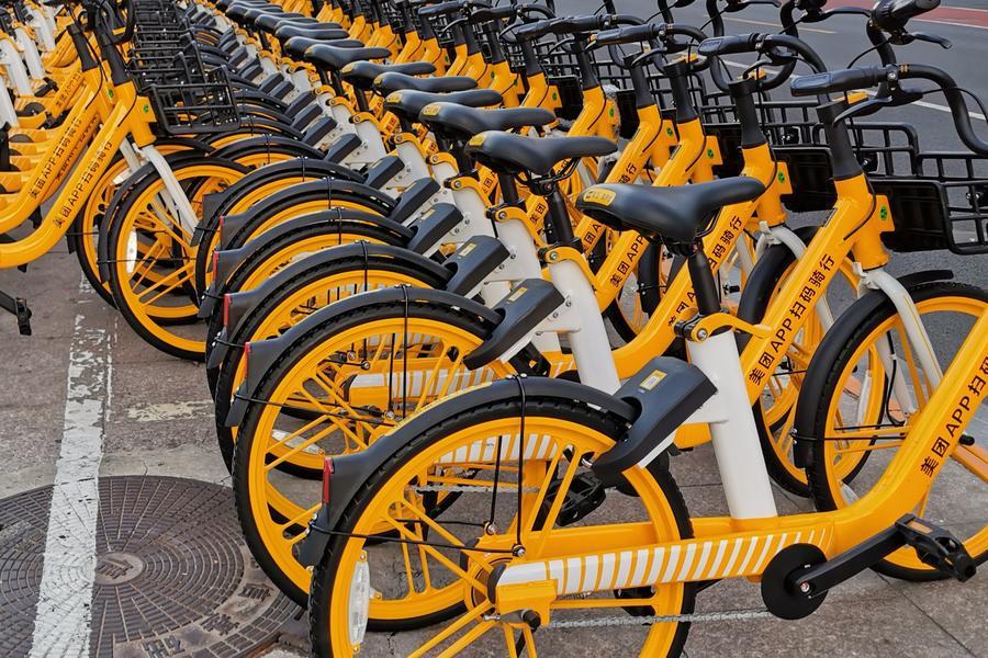 美团小橙色共享单车实体车品牌logo,共享单车,ofo,摩拜