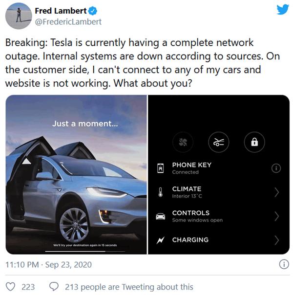 特斯拉遭遇全球性网络中断:汽车、内网、新能源产品全线宕机
