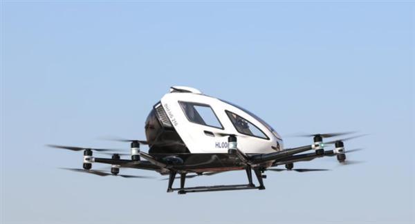 """中国研制的自动驾驶""""空中出租车""""在韩国试飞:垂直起降 航程35公里"""