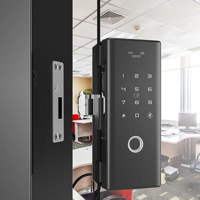 公司辦公室玻璃門無框雙開 刷卡 藍牙 指紋 智能鎖